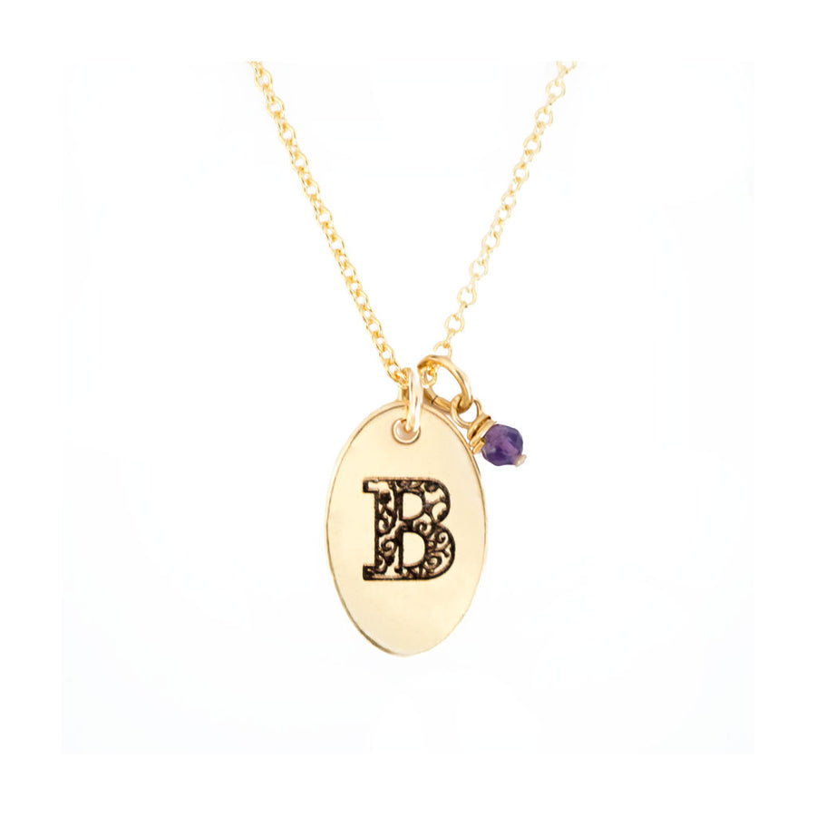 B - Birthstone Love Letters Necklace Gold-and-Amethyst