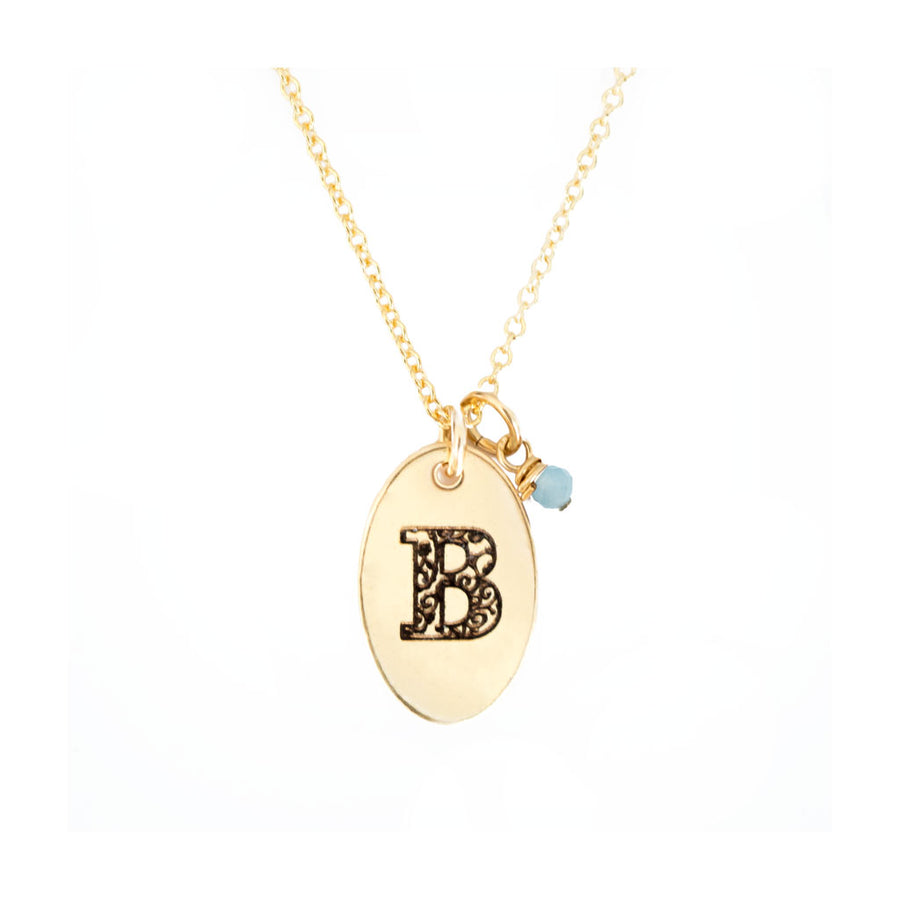 B - Birthstone Love Letters Necklace Gold-and-Aquamarine
