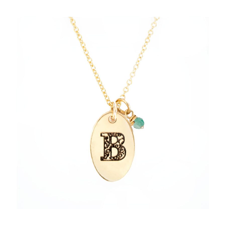 B - Birthstone Love Letters Necklace Gold-and-Emerald