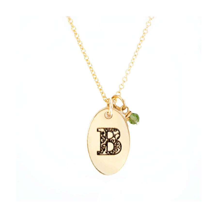B - Birthstone Love Letters Necklace Gold-and-Peridot