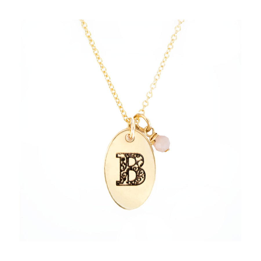 B - Birthstone Love Letters Necklace Gold-and-Pink-Opal
