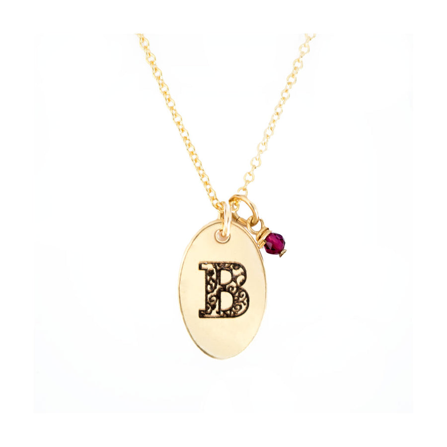 B - Birthstone Love Letters Necklace Gold-and-Ruby