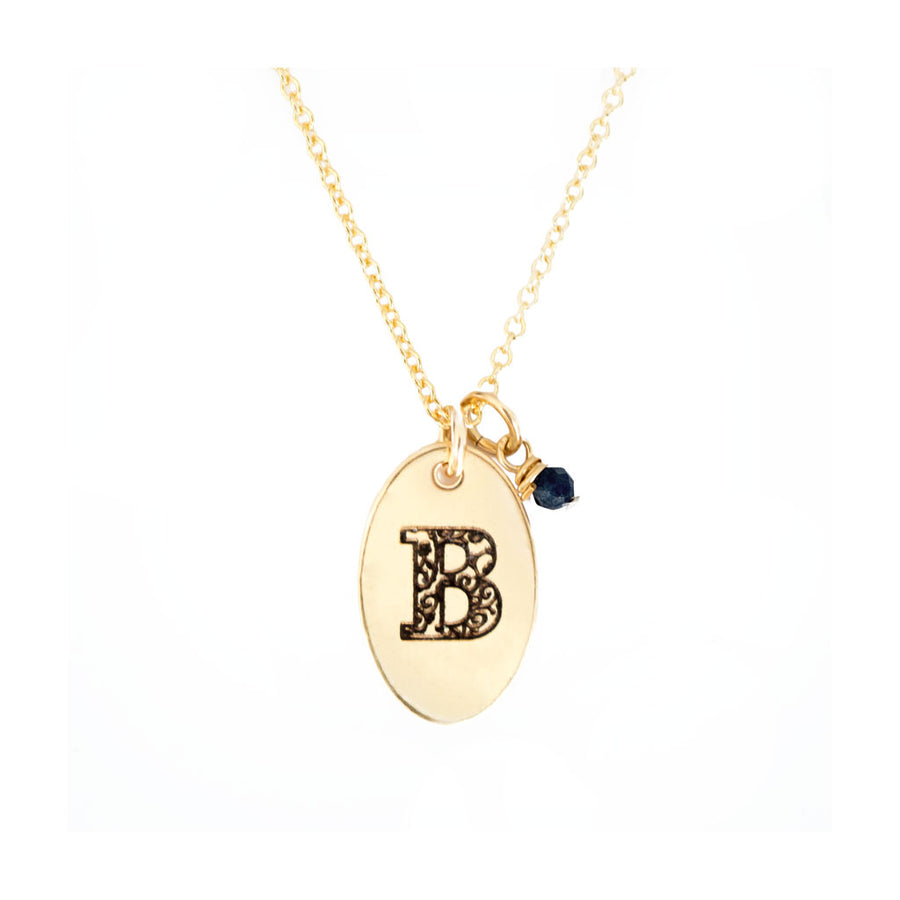 B - Birthstone Love Letters Necklace Gold-and-Sapphire