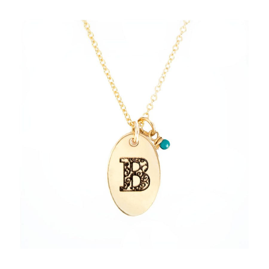 B - Birthstone Love Letters Necklace Gold-and-Turquoise