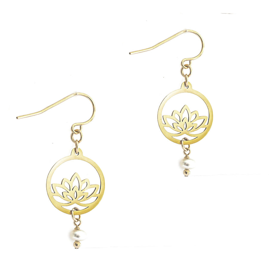 Baby Lotus Earrings - Gold and Pearl