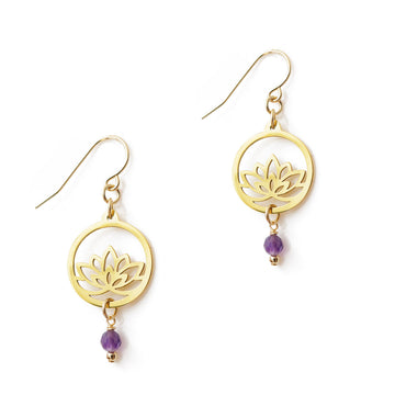 Baby Lotu Earrings Gold Amethyst