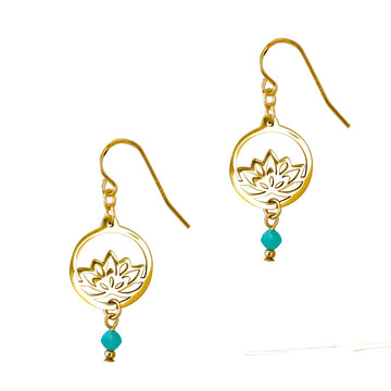 Baby Lotus Earrings - Gold and Amazonite