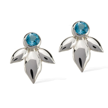 Bloom Earring Sterling Silver Swiss Blue Topaz