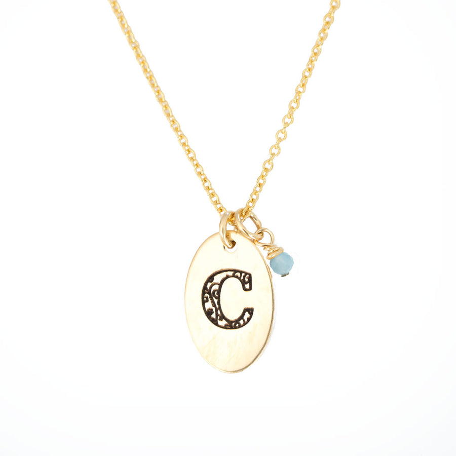 C - Birthstone Love Letters Necklace Gold-and-Aquamarine