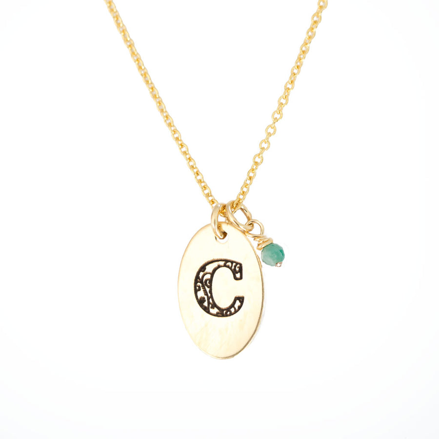 C - Birthstone Love Letters Necklace Gold-and-Emerald