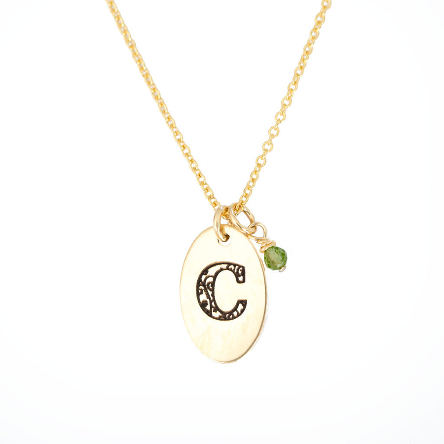 C - Birthstone Love Letters Necklace Gold-and-Peridot