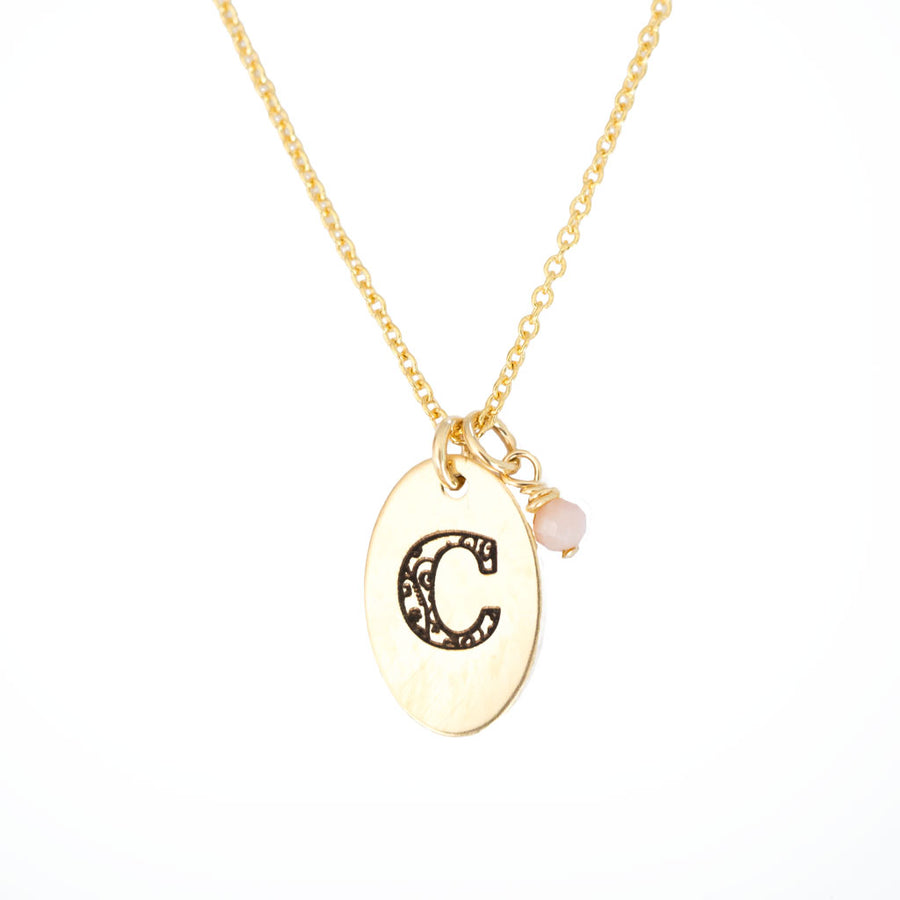 C - Birthstone Love Letters Necklace Gold-and-Pink-Opal