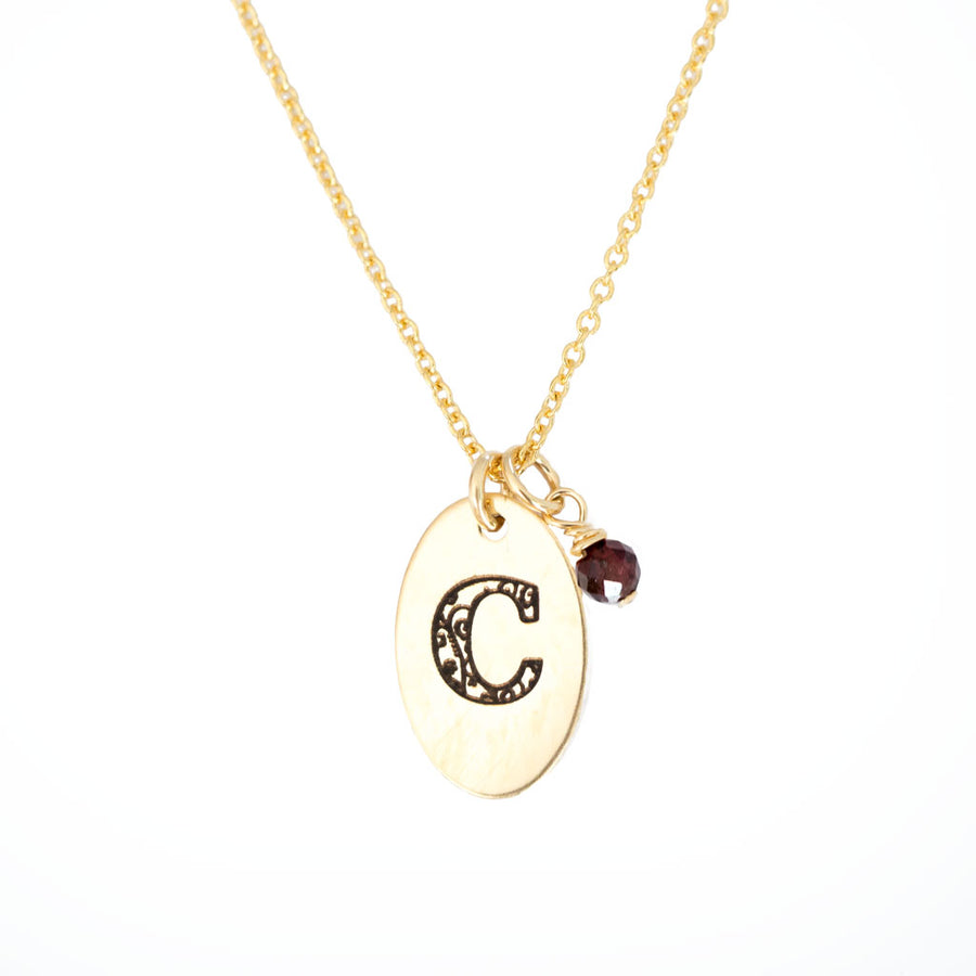 C - Birthstone Love Letters Necklace Gold and Red Garnet