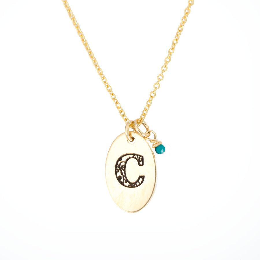 C - Birthstone Love Letters Necklace Gold-and-Turquoise