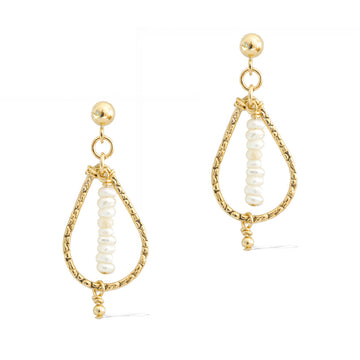 Candle Flame Earrings - Gold and Pearl