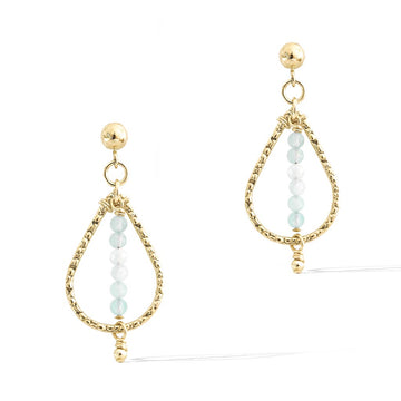 Candle Flame Earrings - Gold and Aquamarine