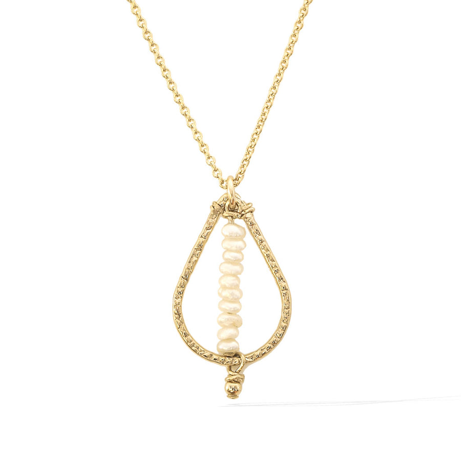 Candle Flame Necklace - Gold and Pearl