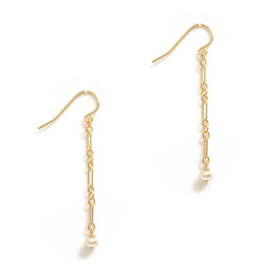 Chain Mail Earrings - Gold and Pearl