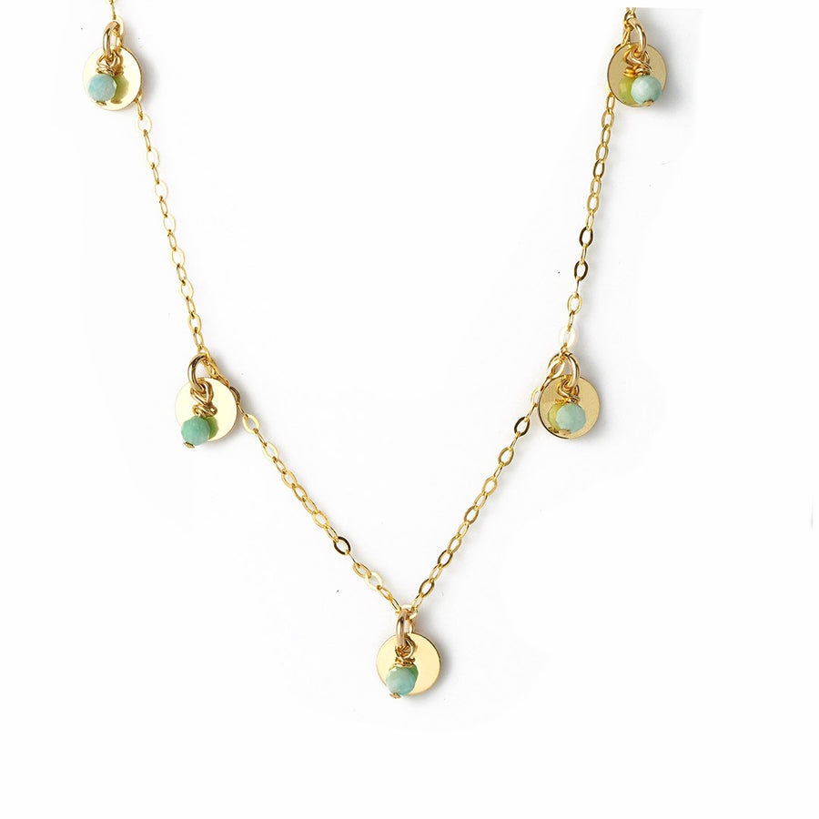 Charmed Phoebe Necklace - Gold and Amazonite