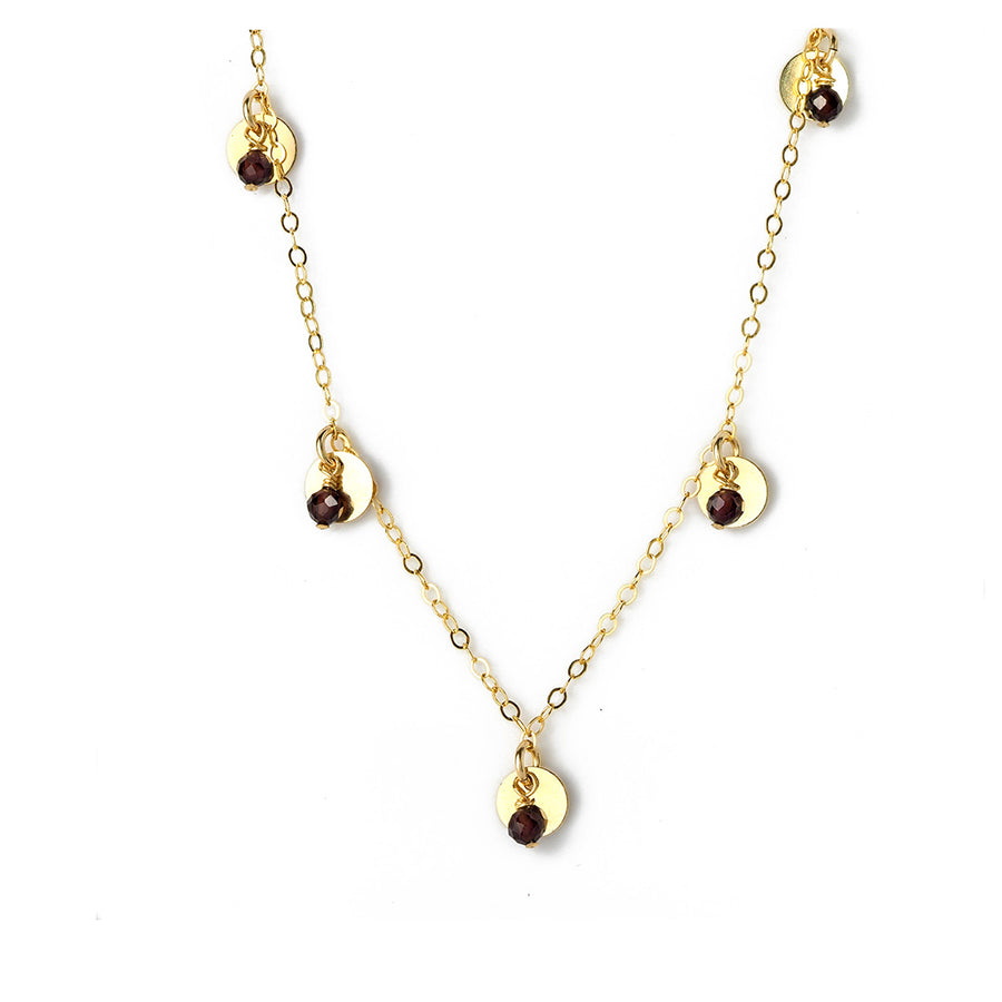 Charmed Phoebe Necklace - Gold and Red Garnet
