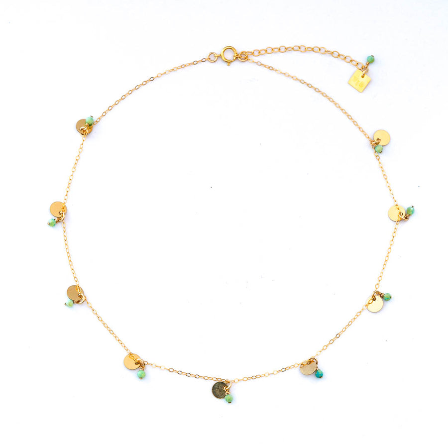 Charmed Phoebe Necklace - Gold and Amazonite top view