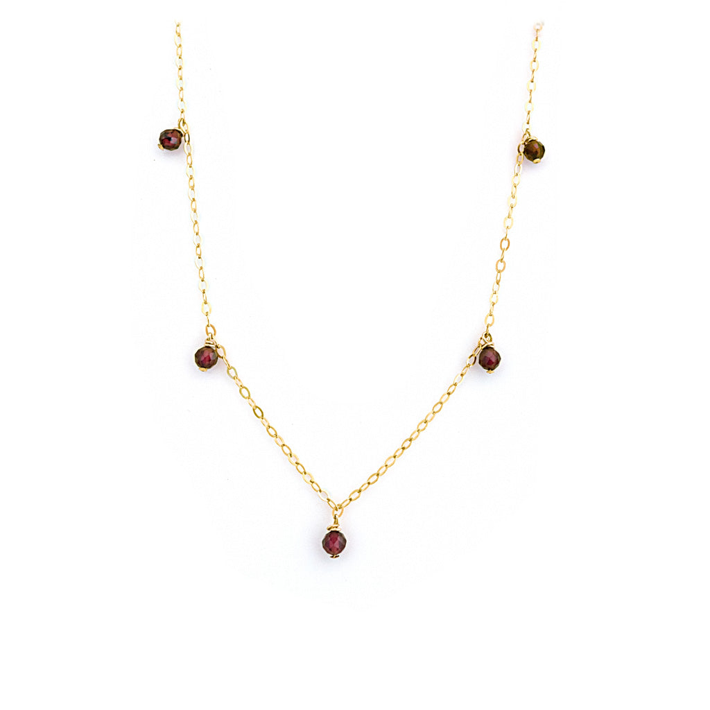 Charmed Prue Necklace - Gold and  Red Garnet