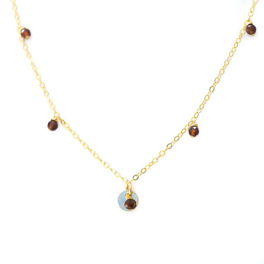 Charmed Necklace - Gold and  Red Garnet
