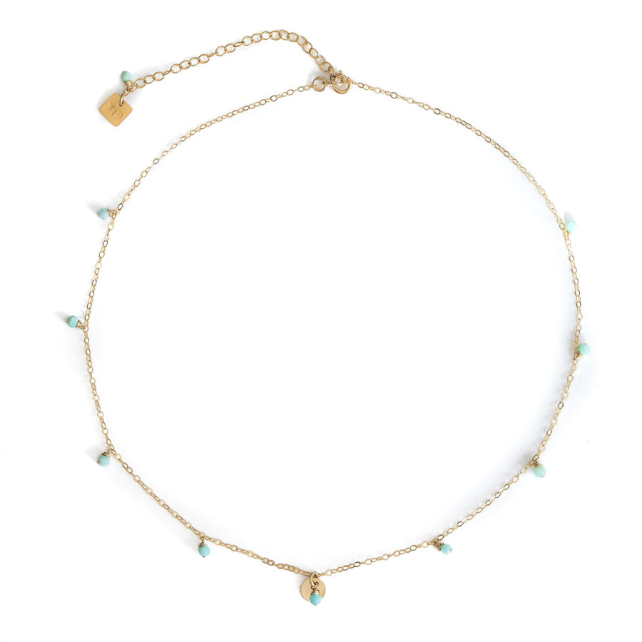 Charmed Necklace - Gold and Amazonite top view