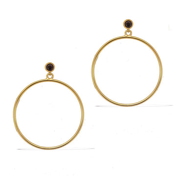 Circlette Hoop Earrings - Gold with Black Spinel