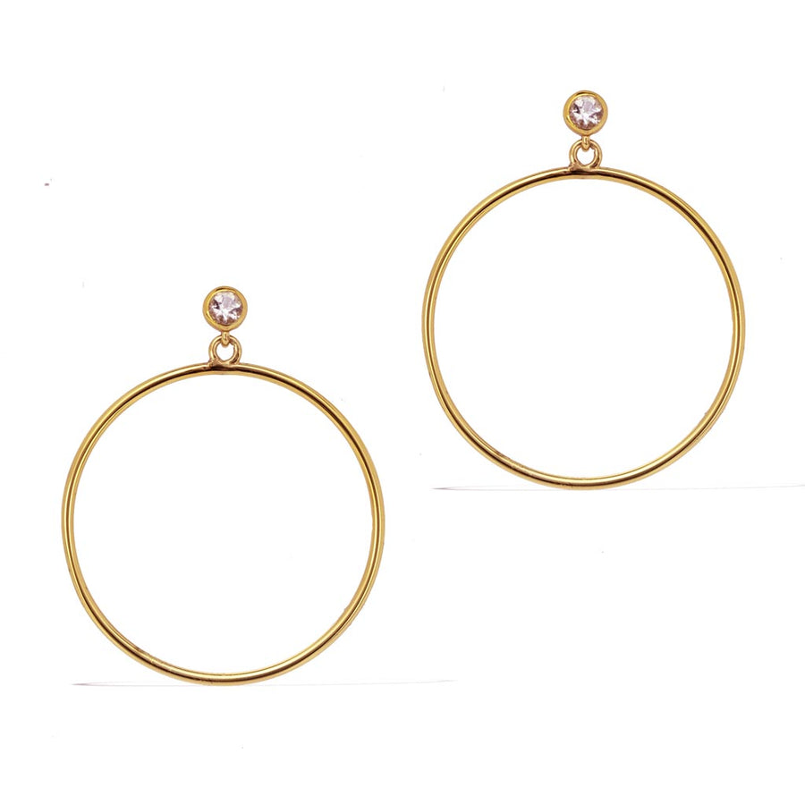 Circlette Hoop Earrings - Gold with Clear Quartz