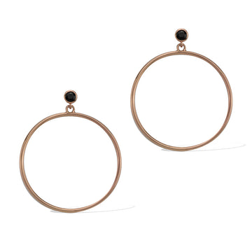 Circlette Hoop Earrings rose gold black spinel