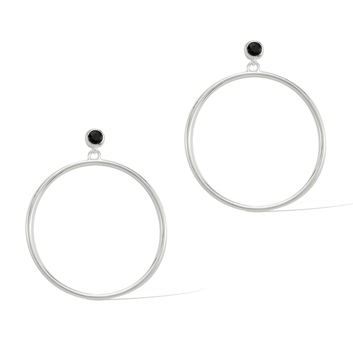 Circlette Hoop Earrings sterling silver black spinel