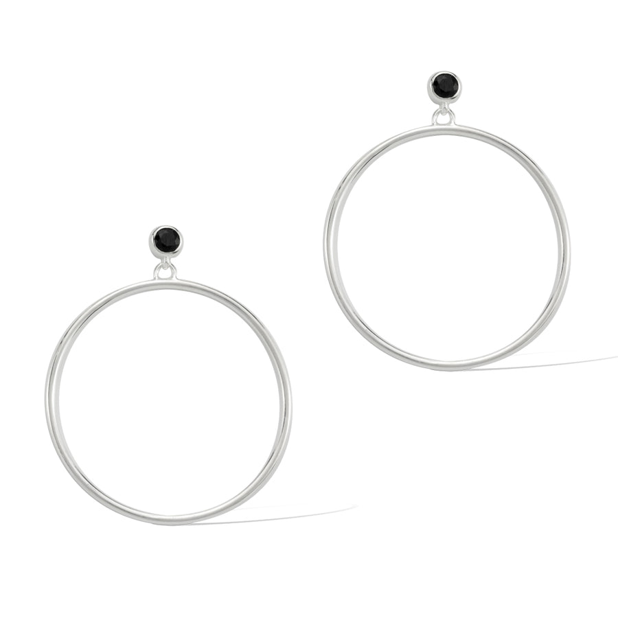 Circlette Hoop Earrings Sterling Silver With Black Spinel Sixd