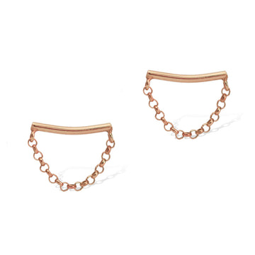 Crescent Moon Earrings Rose Gold