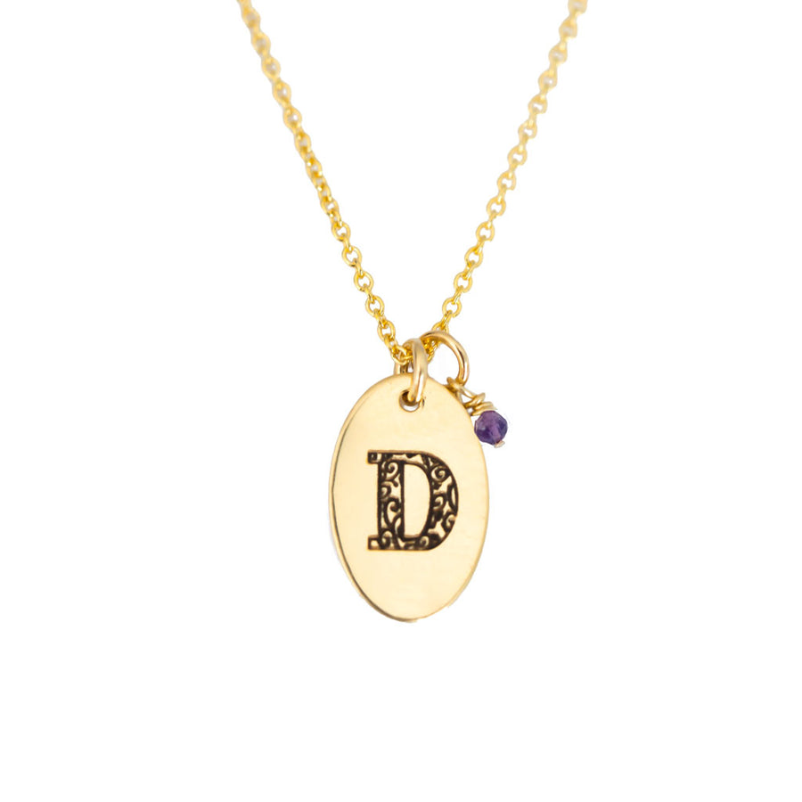 D - Birthstone Love Letters Necklace Gold and Amethyst