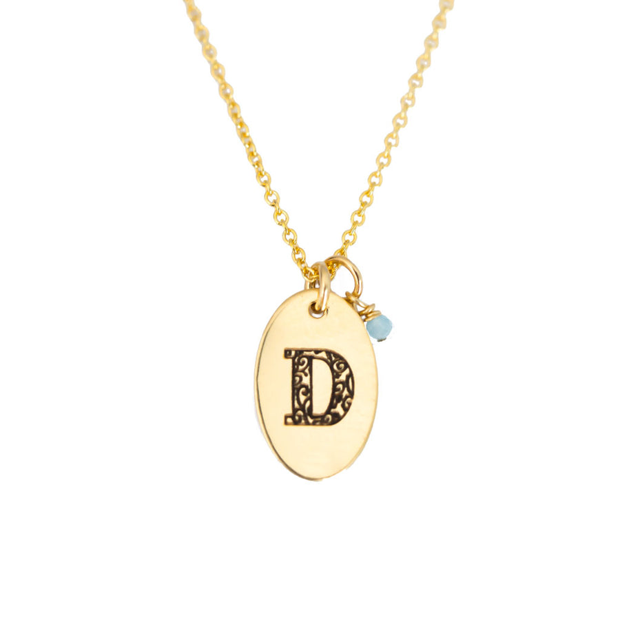 D - Birthstone Love Letters Necklace Gold and Aquamarine