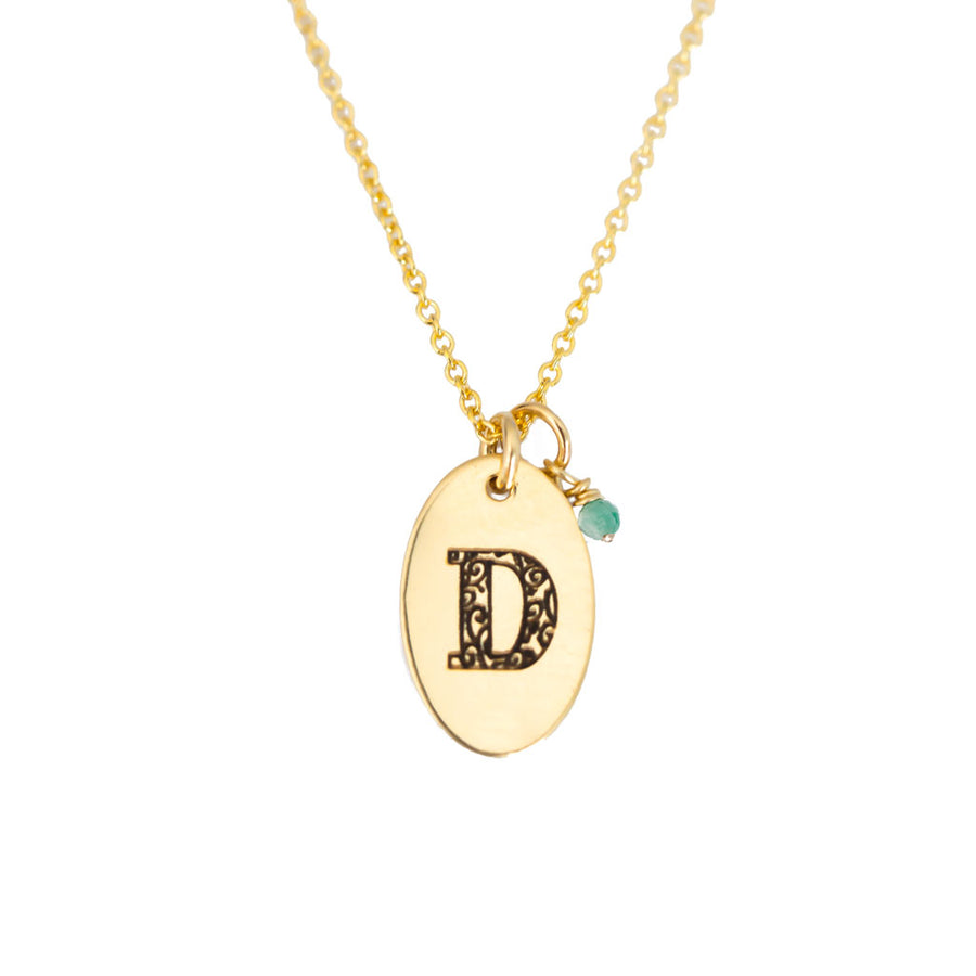 D - Birthstone Love Letters Necklace Gold and Emerald