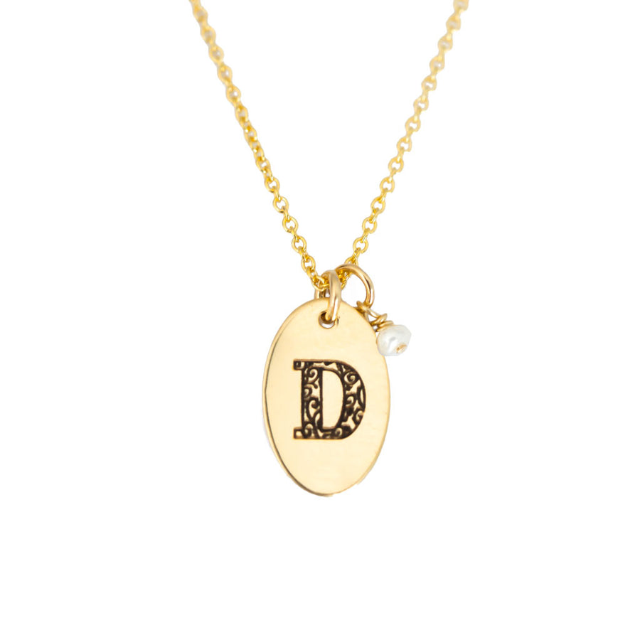 D - Birthstone Love Letters Necklace Gold and Pearl