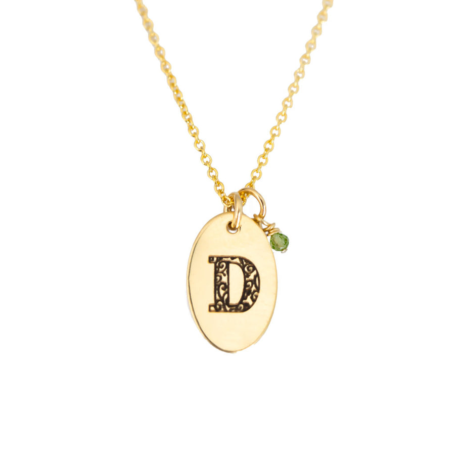 D - Birthstone Love Letters Necklace Gold and Peridot