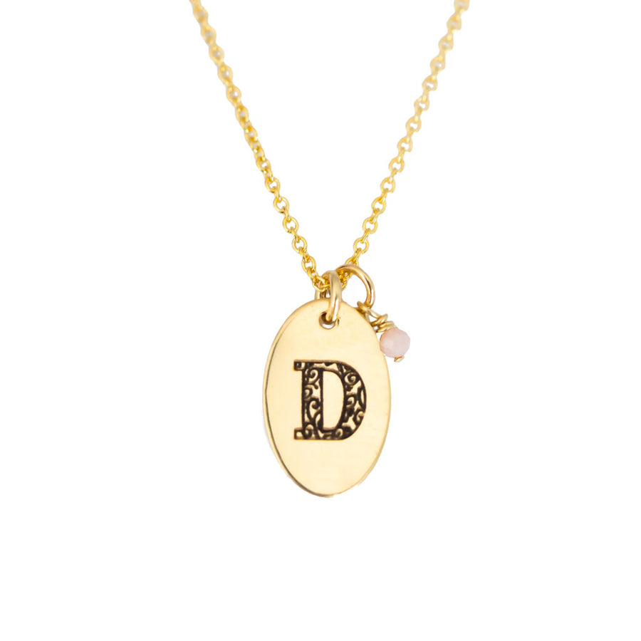 D - Birthstone Love Letters Necklace Gold and Pink Opal