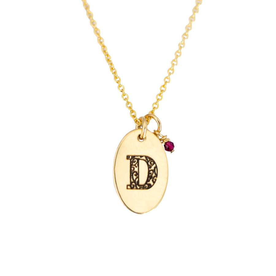 D - Birthstone Love Letters Necklace Gold and Ruby