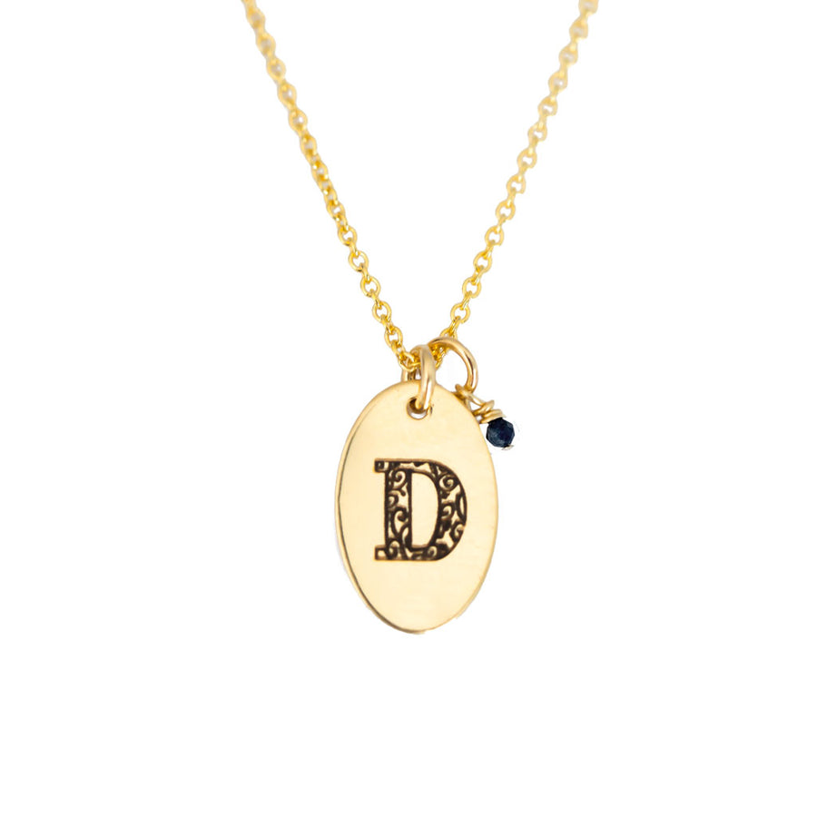 D - Birthstone Love Letters Necklace Gold and Sapphire