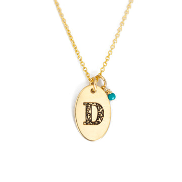 D - Birthstone Love Letters Necklace Gold-and-Turquoise