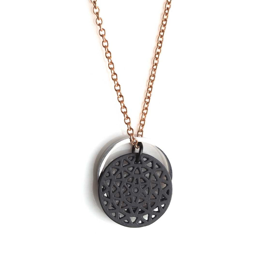 Dandelion Black and Ring OF Fire Rhodium Rose Gold Chain