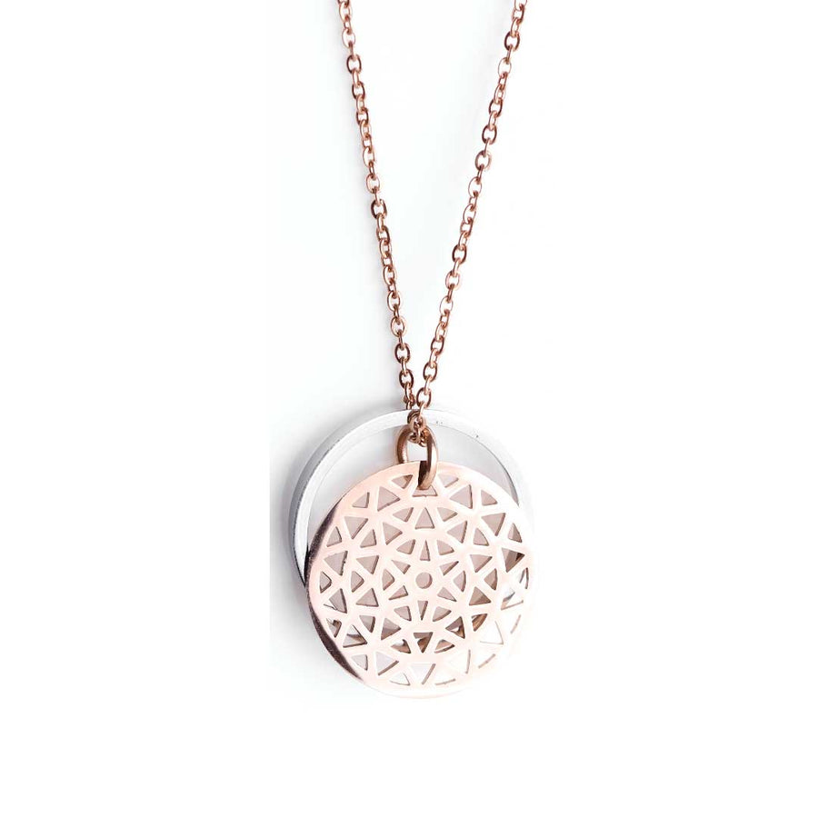 Dandelion Rose Gold Ring of Fire Rhodium Rose Gold Chain