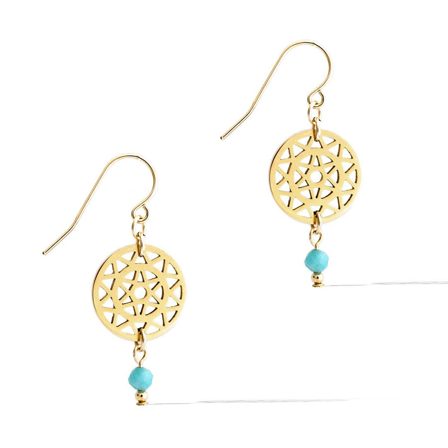 Dandelion Drop Earrings - Gold and Amazonite
