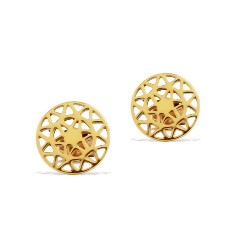 Dandelion-stud-earrings-gold frontview-1