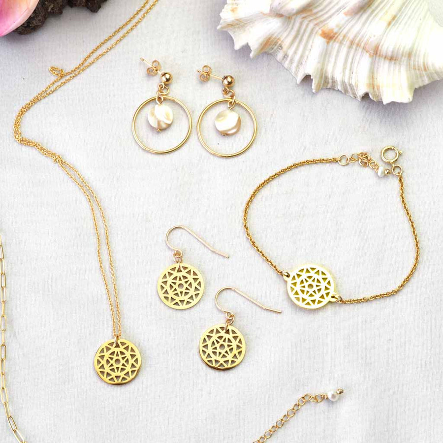 Dandelion Hook, Halo Moonglow earrings Dandelion Necklace and bracelet - gold and pearl