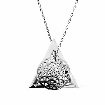 Dandelion and Deltaglyph Pendant -  Rhodium