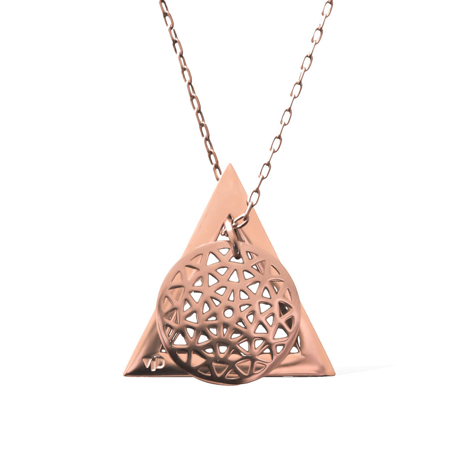 Dandelion and Deltaglyph Pendant -  Rose Gold